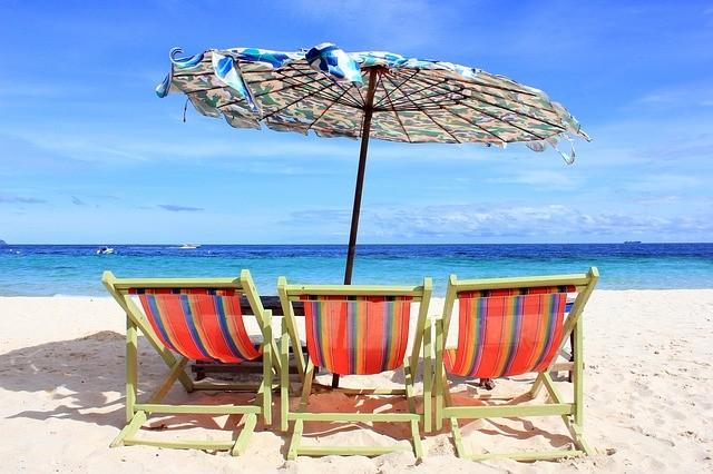 Zee stoel strand winterzonvakantie