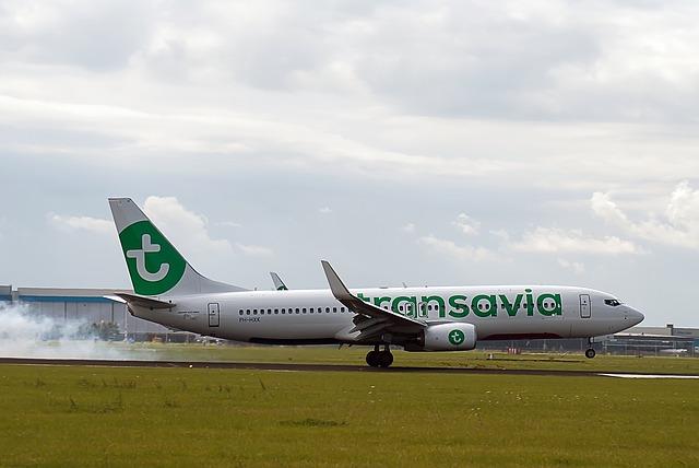 Landing vliegtuig luchtvaartmaatschappij Transavia