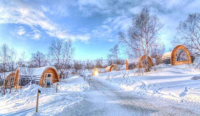 Winter sneeuw Noorwegen landschap huizen